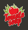 banner for tomato soup with tomato and inscription vector image vector image