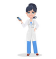 beautiful cartoon character medic holding vector image vector image