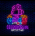 bright neon design for cinema decoration vector image vector image