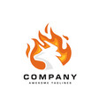 bull head flaming fire logo vector image vector image
