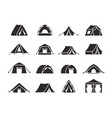 camping tent silhouette set tourist tent with a vector image vector image