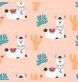 cartoon llama alpaca seamless repeat pattern vector image