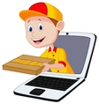 Cartoon Pizza delivery online vector image vector image