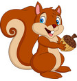 cartoon squirrel holding an acorn vector image vector image