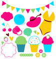 Cute summer elements set isolated on white vector image vector image
