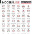 eco energy flat icon set of vector image vector image