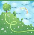 fantasy landscape with big tree vector image