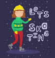 girl in a sweater on skates vector image