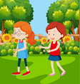 girls having an egg and spoon race vector image vector image