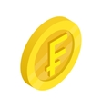 Gold coin with franc sign icon isometric 3d style vector image vector image
