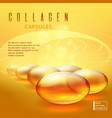 gold pill vitamins gold gel collagen capsule vector image vector image