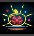 halloween pumpkin icon neon electric vector image vector image