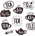 hand drawn set of lettering tea badge labels signs vector image vector image