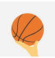 hand with basketball ball vector image vector image