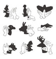 hands gesture like different animals imagination vector image vector image