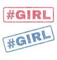 hashtag girl textile stamps vector image vector image