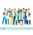 hospital or medical staff cartoon characters vector image vector image