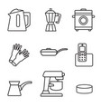 household appliances icon set black sign on white vector image vector image