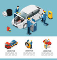 isometric car service composition vector image vector image