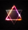 jewish david star design on black brick wall vector image