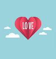 love with paper cut red heart hot air balloon vector image