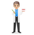 male dentist holding tooth brush and mouth to show vector image