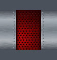 metal background with red perforation vector image vector image