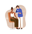 nurse vaccinating black-skinned woman with anti vector image vector image