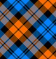 orange and blue tartan diagonal seamless pattern vector image vector image