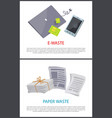 paper and e-waste isolated on white color cards vector image vector image