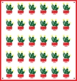 pattern of green decorative cactus vector image