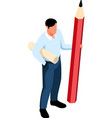 pencil man isometric composition vector image vector image