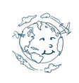 planet doodle with cute cartoon face on white vector image vector image