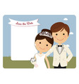 princely style couple foreground for wedding vector image vector image
