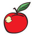 red apple colored button with a black outline on vector image vector image