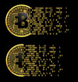 set of crypto currency bytecoin golden symbols vector image vector image