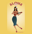 sexy and tattooed pin-up girl playing ukelele vector image vector image