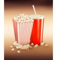 popcorn box and cola vector image