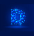 abstract glowing letter d on dark blue background vector image vector image