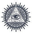 All Seeing Eye in Triangle and Mandal vector image