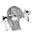 Beautiful young girl and a cute little cats vector image