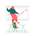 business woman dancing on office desk at growing vector image