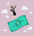 Business woman standing on a flying money vector image vector image