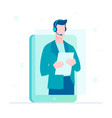 call center operator - flat design style vector image