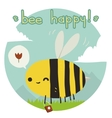 Cartoon funny bee happy flat icon vector image vector image
