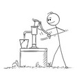 cartoon man or farmer drawing or pumping water vector image vector image