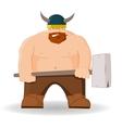 Cartoon viking with hammer vector image vector image