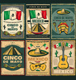 cinco de mayo and viva mexico retro poster design vector image vector image