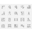 Construction sketch icon set vector image