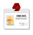 cosmetologist identification badge woman vector image